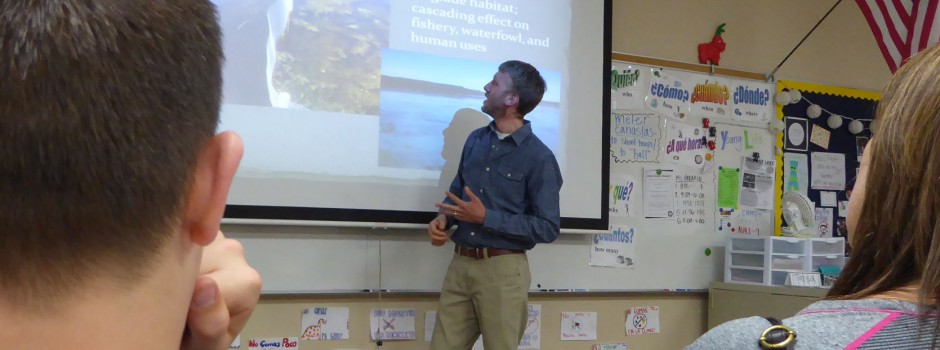 The District hosted a Science Night Live event through Prior Lake-Savage Area School District on April 28, 2015.  In photo: Tony Havranek from WSB presenting on the District's carp management project.