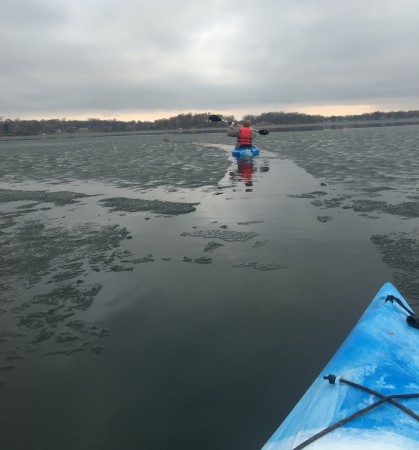 "Mike Myser kayaking on Upper Prior Lake on March 14, 2016 - the day before official lake ""Ice-Out."" Photo credit: Julie Myser"