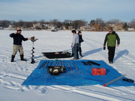 Setting up for taking a core out of the bed of Upper Prior Lake.